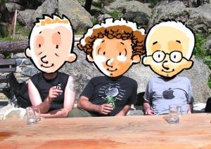 Gli autori durante una pausa ristoratrice